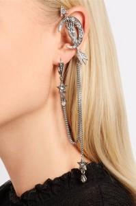 earrings, model accessories, designer earrings, designer ear cuffs, doir piercings, balenciaga ear cuff, mcqueen ear cuff